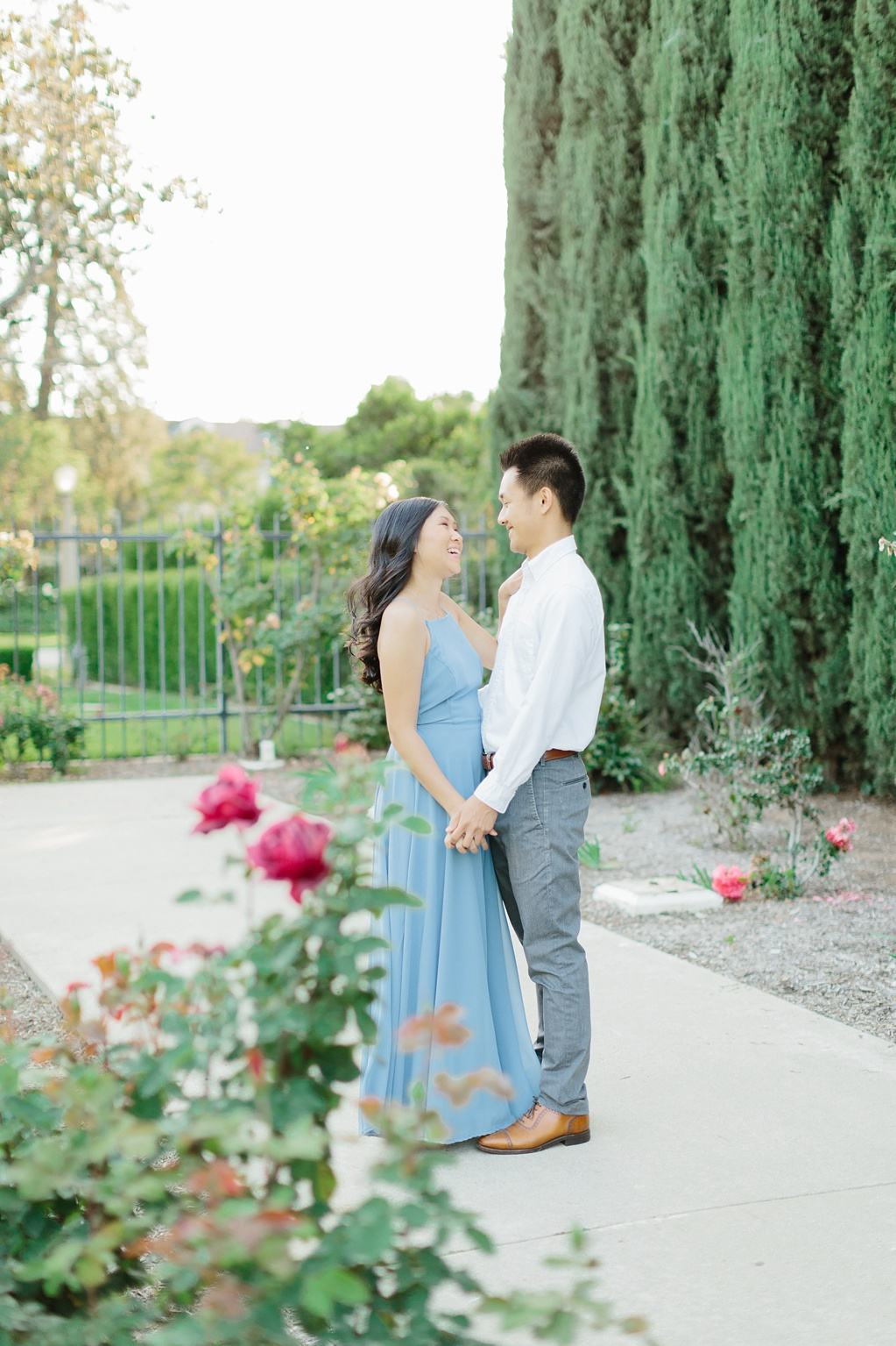 Elegant rose garden engagement shoot at Lacy Park in Pasadena by LA wedding photographer-Madison Ellis Photography (59)