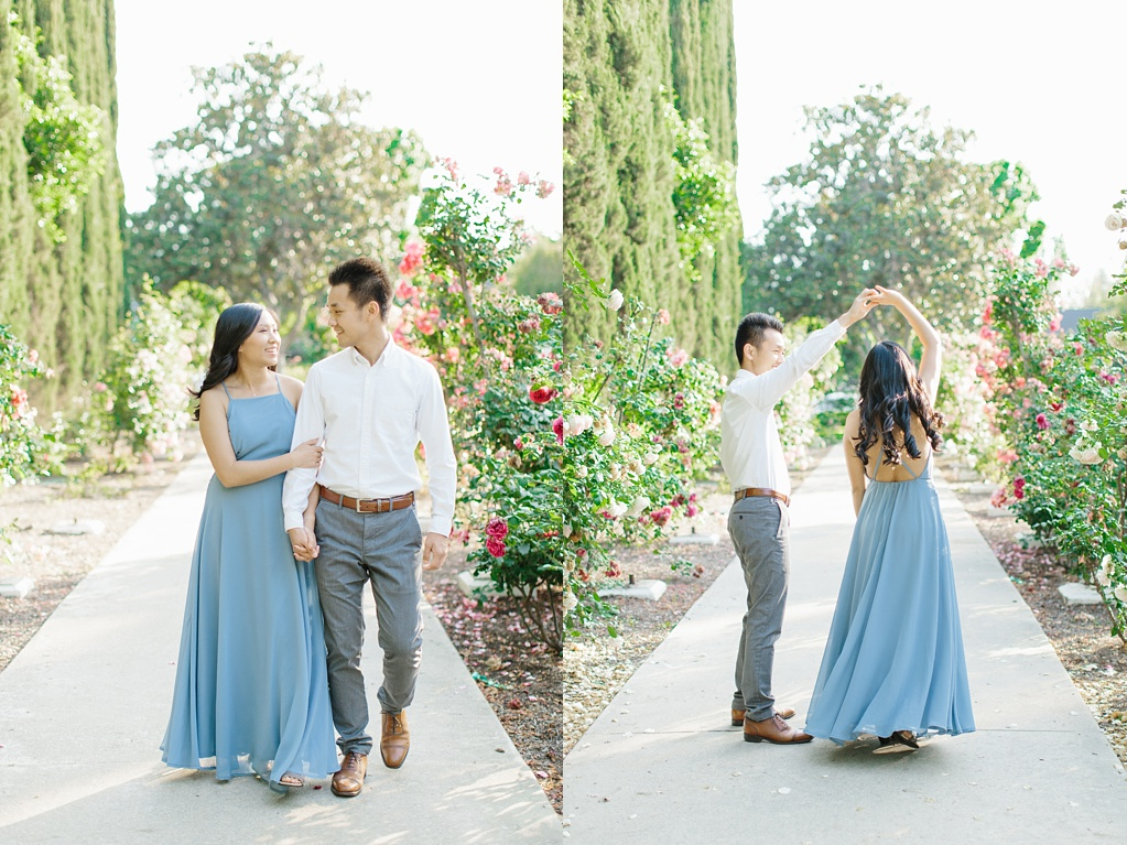 Elegant rose garden engagement shoot at Lacy Park in Pasadena by LA wedding photographer-Madison Ellis Photography (18)