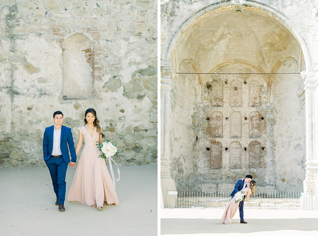 Film inspired engagement session at San Juan Capistrano Mission by Madison Ellis Photography (33)