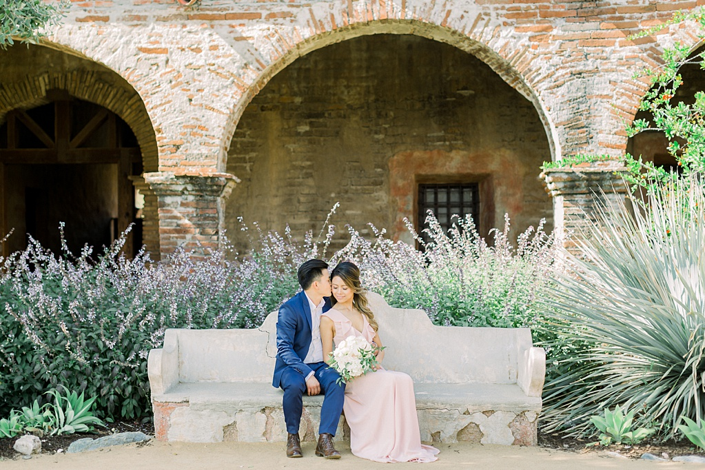 Film inspired engagement session at San Juan Capistrano Mission by Madison Ellis Photography (6)