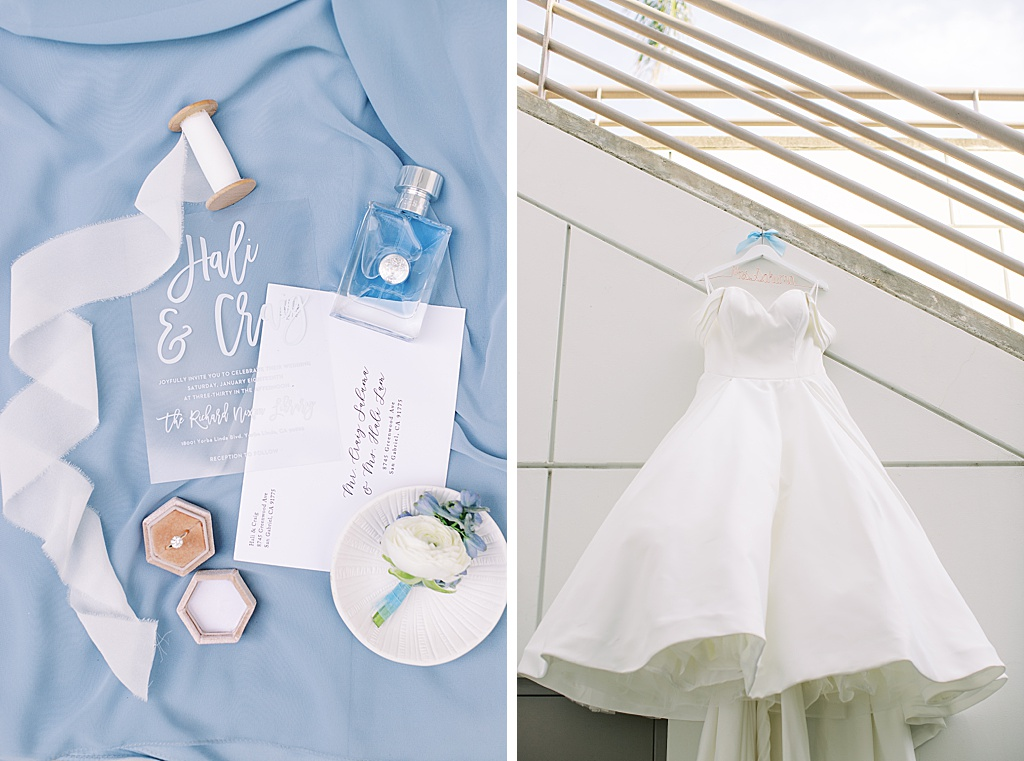 A dusty blue film-inspired wedding at the Richard Nixon Library by Madison Ellis Photography (124)