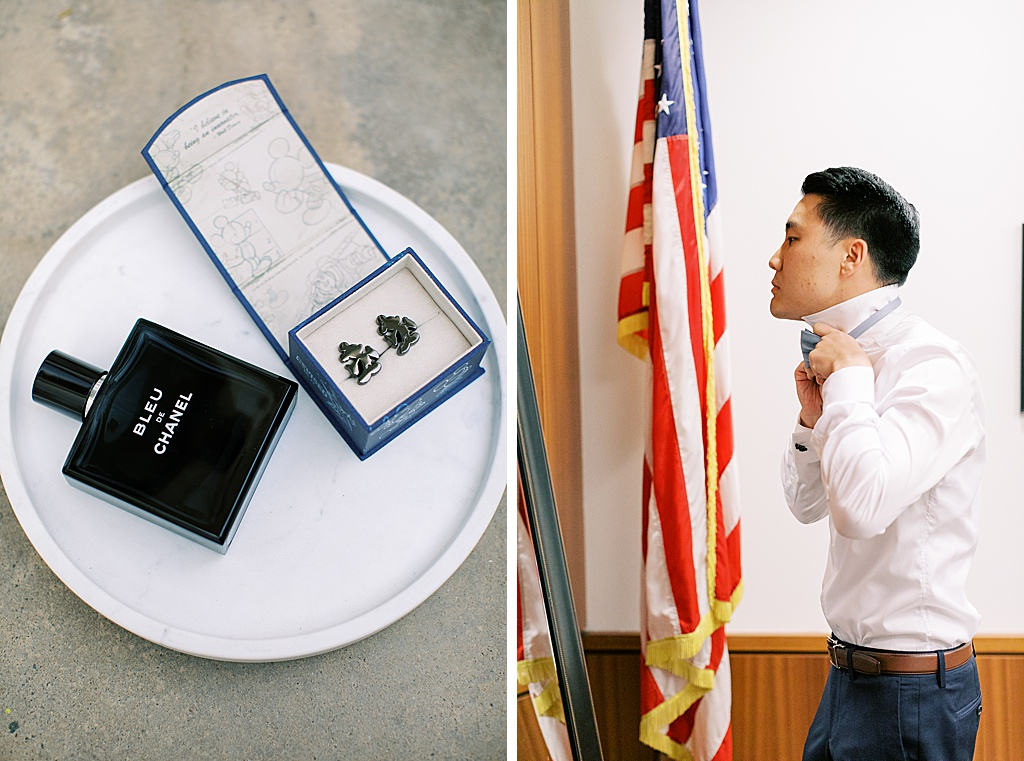 A dusty blue film-inspired wedding at the Richard Nixon Library by Madison Ellis Photography (123)